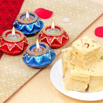 Fancy Diyas for Diwali & Sweets Online