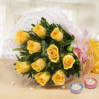 10 Yellow Roses Bouquet with 2 Diyas