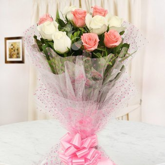 Front view of 10 white and pink roses bouquet - A gift of A Captivating Regards