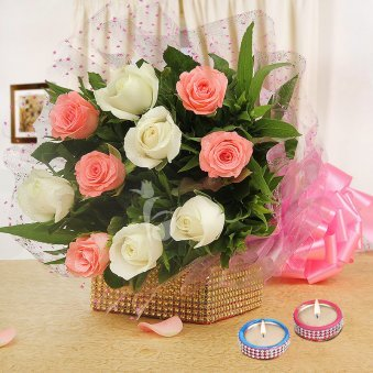 10 Pink and White Roses with 2 Diyas