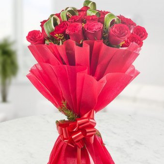 Elegant Beauty Gracefully Wrapped 20 Bright Red Rose Flowers - for online delivery in Mumbai
