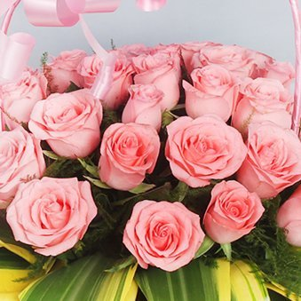 Arrangement of 30 fresh Pink Roses with Zoomed View