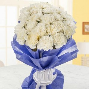 Bunch of 25 White Carnations