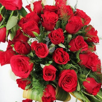 100 Red Roses Arrangement in Zoomed View