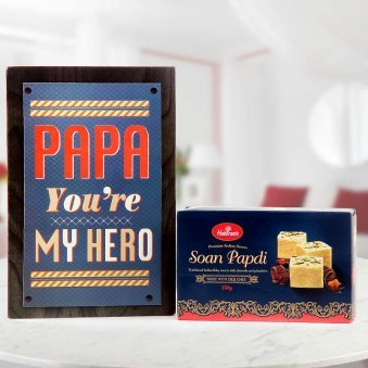 A combo gift for father - Papa you are my Hero greeting and 250gm soan papdi