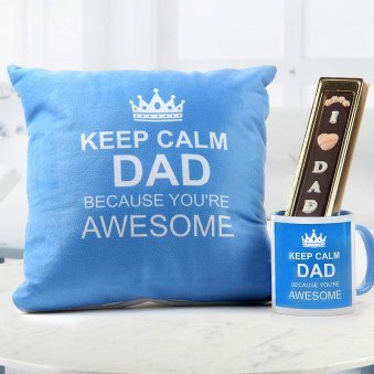 Keep calm dad quoted blue cushion and mug with I love dad quoted handmade chocolate