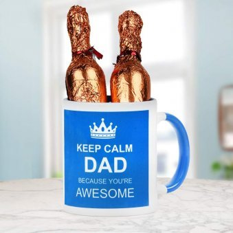 Keep Calm Dad Quoted Printed Duotone Mug with Champagne Shaped Handmade Chocolate