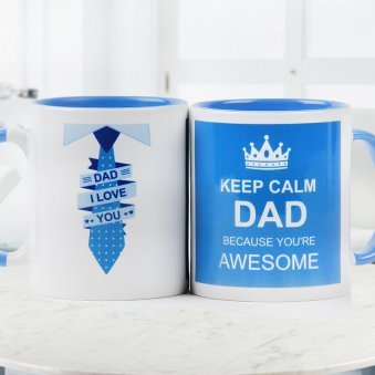 Keep Calm Dad Because you are Awesome Quoted Mug for Father with Both Sided View