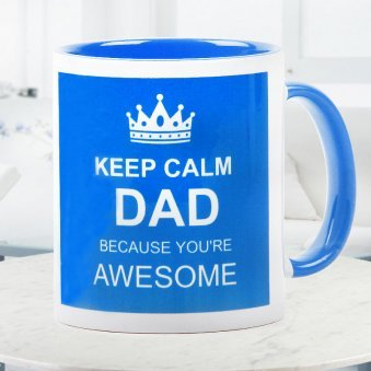 Keep Calm Dad Quoted Printed Duotone Mug with Front Sided View