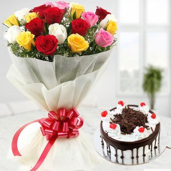 20 Mixed flowers with 1/2 kg black forest cake