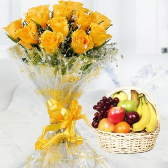12 Yellow rose flowers with 2 kg fruit basket
