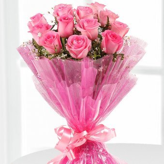 First Step Beautiful Bunch Of 12 Pink Rose flowers - delivery in Delhi