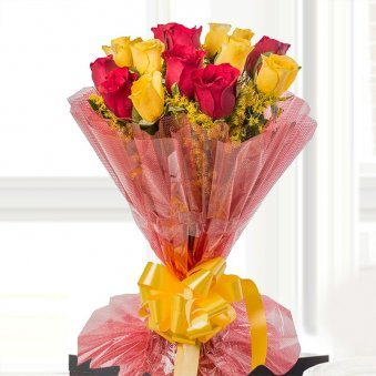 18 Red and Yellow Roses