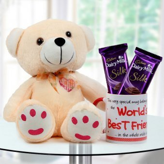 """World's Best Friend"" quoted duotone mug with adorable teddy and Dairy Milk silk chocolate"