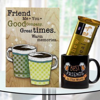 """""""Best Friends in the World"""" quoted black Coffee mug with Friendship plaque and Temptation Chocolate"""