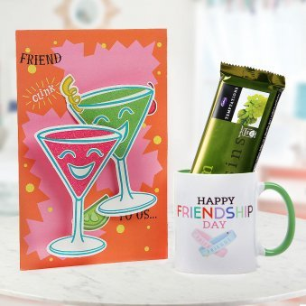 Happy Friendship Day White and Green Duotone Mug with Friend Greeting Card and Temptation Chocolate