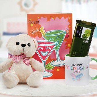 Happy Friendship Day Mug and Greeting Card with Teddy and Temptation Chocolate