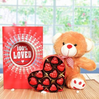 "12"" Light Brown Teddy, a Large-sized Pink & Blue Greeting Card, 10 Heart-shaped Milk Chocolates"
