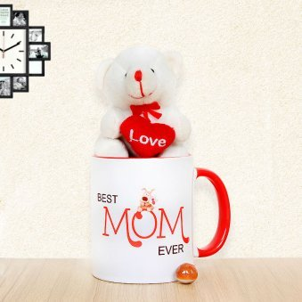 Comb of Best Mom Ever Mug with a Cute Teddy to Say I love You Mom