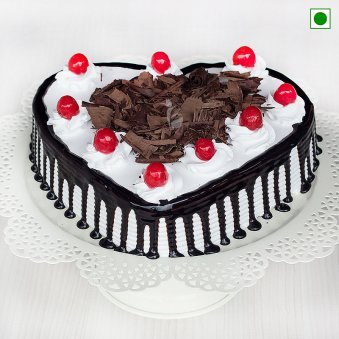 Eggless Heart Shaped Blackforest Cake - Top View