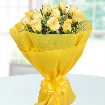 Front view of 12 yellow roses bunch - A part of Heartful Wishes