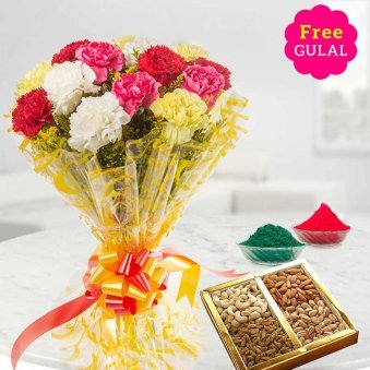 Mix flowers bunch with dry fruit and gulal for Holi