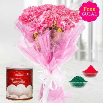 Carnation flowers bunch with rasgulla and gulal for Holi