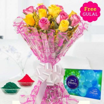 Yellow and pink flower bunch with Cadbury celebration and gulal for Holi