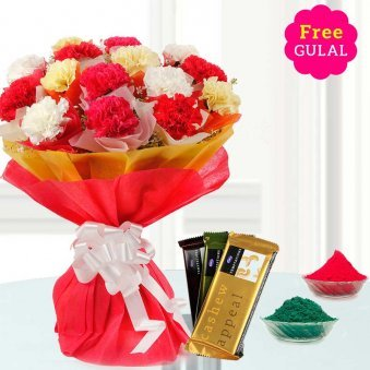 Stunning flower bouquet with 3 Chocolate and gulal for Holi