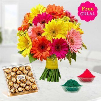 Gerberas flowers bunch with 24 ferrero rocher and gulal for Holi