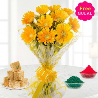 Yellow Gerberas flowers bunch with Soan papdi and gulal for Holi