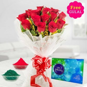 beautifully wraped red rose bouquet with Cadbury and Gulal for Holi