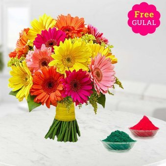 Holi flowers - Mix Gerberas bouquet with free gulal