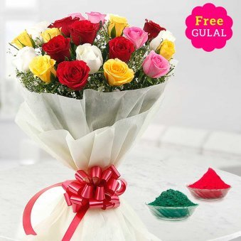 Bunch of mix Holi flowers with free Gulal