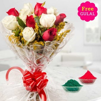 White and red Roses Holi bouquet with free Gulal