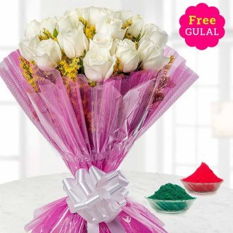 Holi flower - Beautiful white rose flowers bunch with free gulal