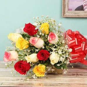 12 Mixed Color Roses Bunch with Side View