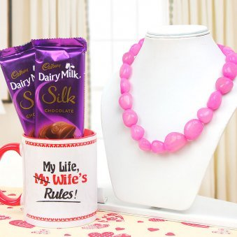 Pink Necklace with Coffee Mug and Chocolates