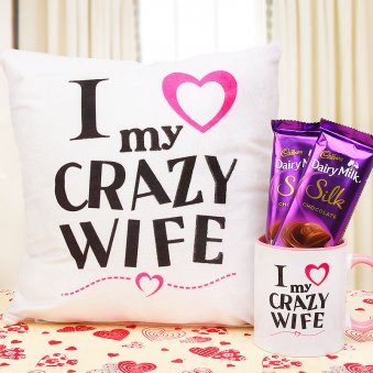 Gift Combo of 2 Dairy Milk with Cushion and Mug