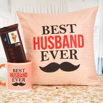 Best Husband Cushion Alongwith Mug and Temptation