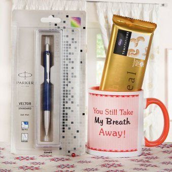 One Ceramic Pink Mug with Parker Pen and Temptation Chocolate
