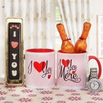 i love u bar and watch alongwith 2 mugs combo