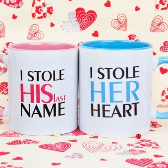 Stone His Name and Heart Couple Mugs