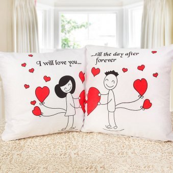 Cute Couple Cushions with Holding Hearts
