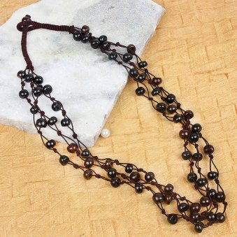 Elegant Black Colored Beaded Neckpiece