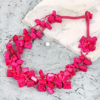 Pink Colored Square Bead Necklace