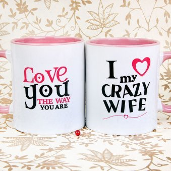 Couple Mugs - Love you and Crazy Wife Mug