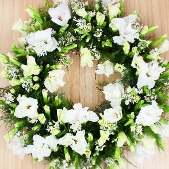 Mixed White Funeral Flowers Arrangement