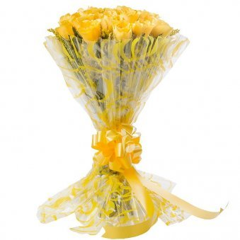 20 Yellow Roses Bunch with Front View