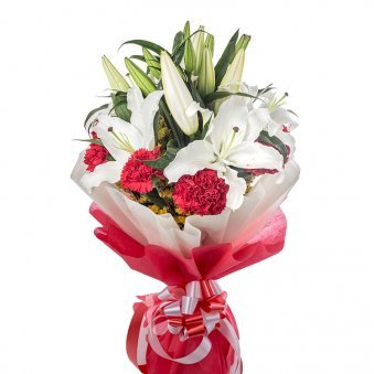 2 White Lilies and 12 Red Carnations with Oblique View